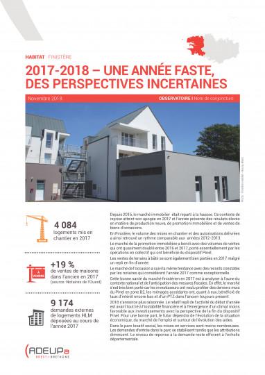 2017-2018 : années fastes mais perspectives incertaines pour l'habitat en Finistère